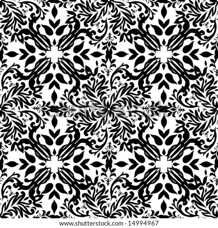 Gothic style black and white seamless Illustrated wallpaper
