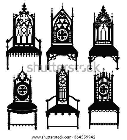 gothic style chairs set with