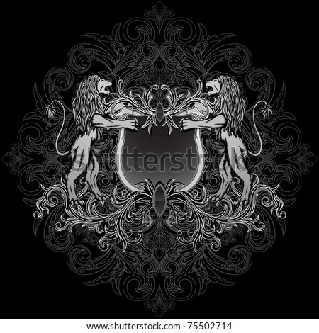Gothic style coat of arms, on the floral background.
