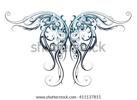 Gothic style tattoo as angel wings shape