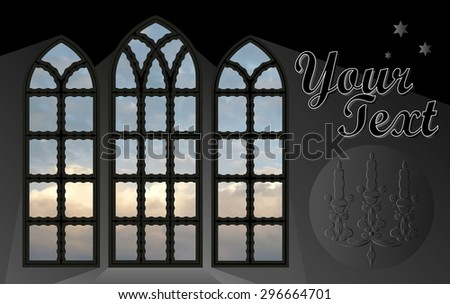 Gothic window - frame for any background. Vector.