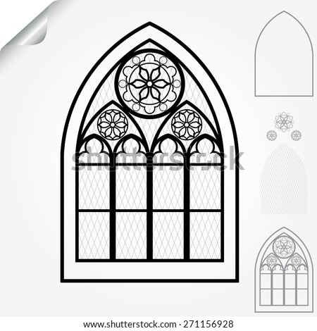 Gothic window of cathedrals, churches, monasteries and medieval castles, roses elements - vector illustration