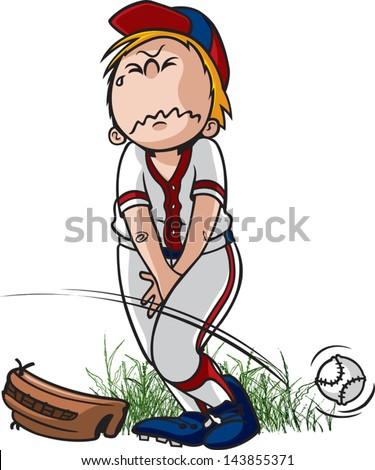 Gotta Pee. A vector cartoon of a little league ball player that has to pee. - stock vector