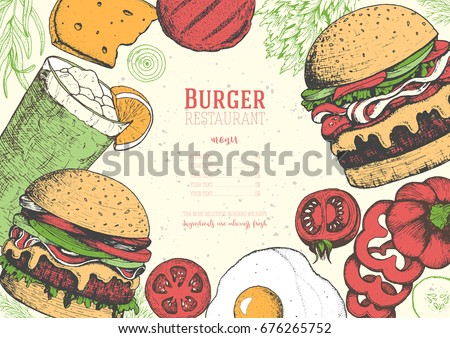 Gourmet Burgers and ingredients for burgers colorful vector illustration. Fast food, junk food frame. American food. Elements for burgers restaurant menu design. Engraved style image.