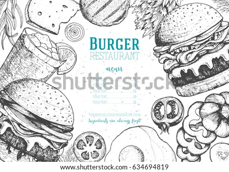 Gourmet Burgers and ingredients for burgers vector illustration. Fast food, junk food frame. American food. Elements for burgers restaurant menu design. Engraved style image.