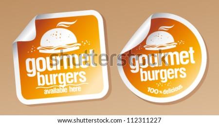 Gourmet burgers stickers set.