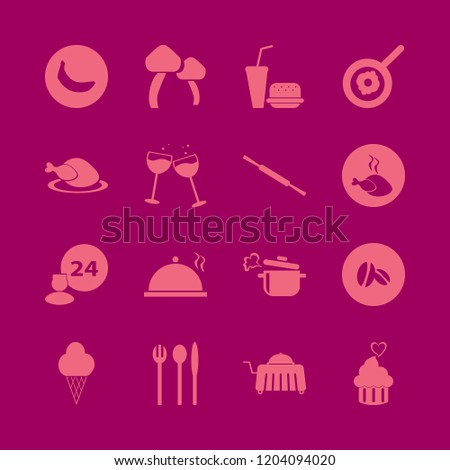 gourmet icon. gourmet vector icons set mushrooms, fast food, cupcake heart and room service