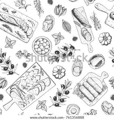 Gourmet snacks seamless pattern. Cheese, sausages, bread hand drawn. Gourmet food menu design template. Engraved style.