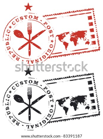 gourmet stamp with world map
