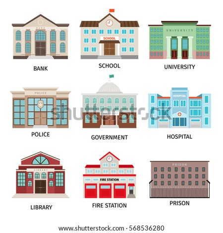 Government building colored icons isolated on white background. Bank and fire office, university and library vector illustration.