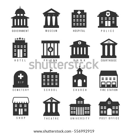 Government building icon set. Vector buildings like university, police office and city hall, hospital and museum. Urban, buildin, prison and hotel, cemetery and bank illustration