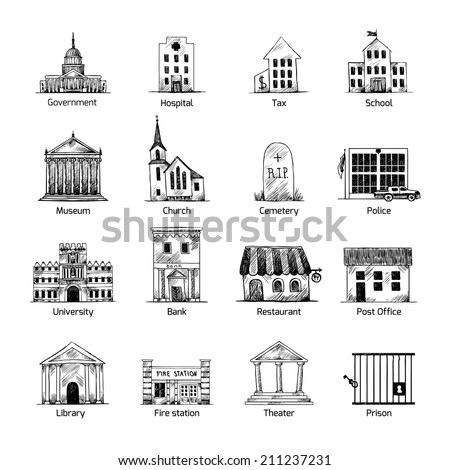 Government building icons set in hand draw style of post cemetery museum school church theater isolated vector illustration