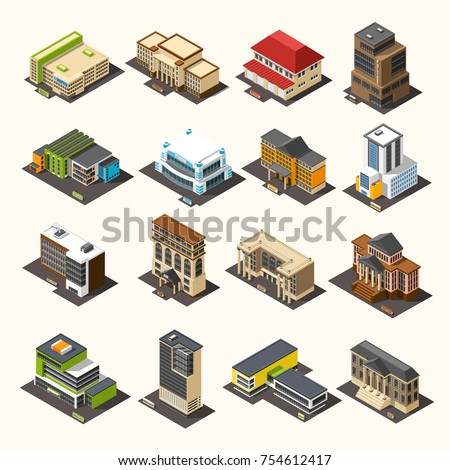 Government building isometric set with images of isolated administrative houses of different purposes and architectural style vector illustration