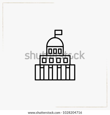 government building line icon