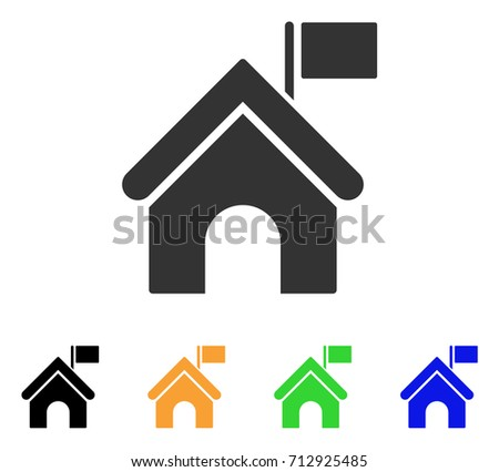 Government Building With Flag icon. Vector illustration style is a flat iconic government building with flag symbol with black, gray, green, blue, yellow color variants.