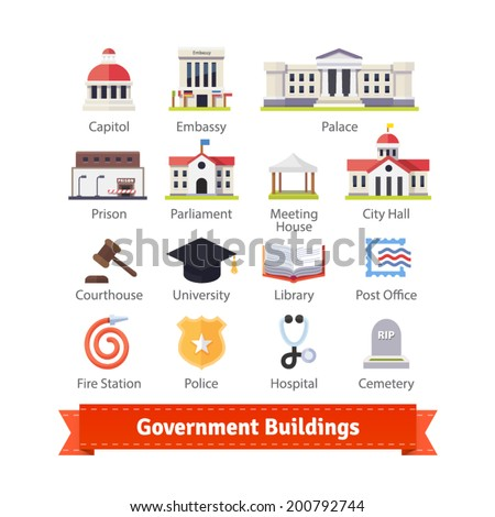 Government buildings colourful flat icon set. For use with maps and internet services interfaces. EPS 10 vector.