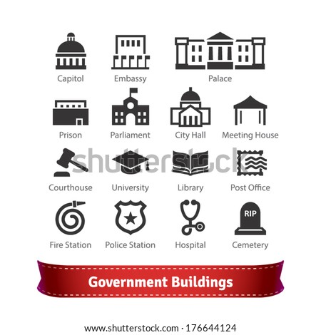 Government Buildings Icon Set. For Use With Maps and Internet Services Interfaces.