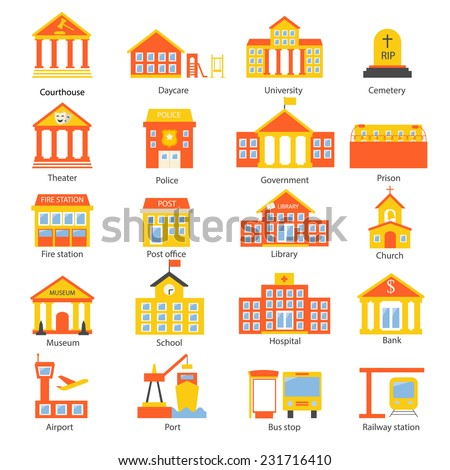 Government buildings icons set in flat design style, vector illustration. Includes school, hospital, police, fire station, courthouse, daycare, university, airport, railway station etc.