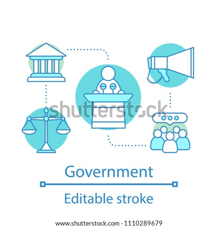 Government concept icon. Politics idea thin line illustration. Political campaign. Government system. Vector isolated outline drawing. Editable stroke
