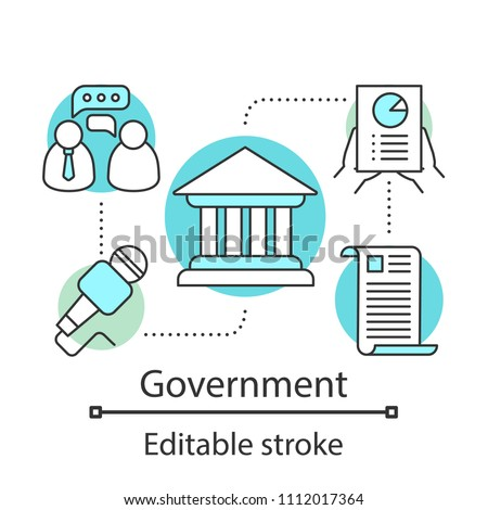 Government concept icon. Politics idea thin line illustration. Publicity. Political campaign. Government system. Vector isolated outline drawing. Editable stroke