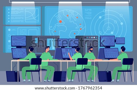 Government control center. Command room, engineers controlling military mission. Security station, cybersecurity department vector concept Stock photo ©
