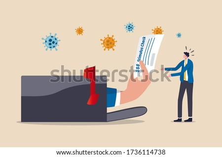 Government give stimulus check money to all citizen people for economic stimulus in COVID-19 Coronavirus outbreak crisis, government hand giving stimulus check from post box to unemployed business man