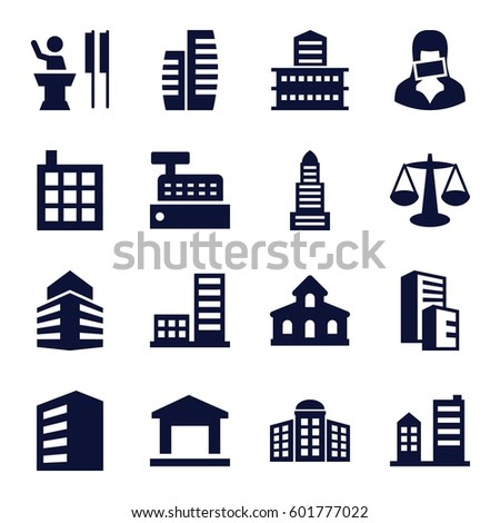 government icons set. Set of 16 government filled icons such as building, building   isolated  sign symbol, business center, censored woman, speaker