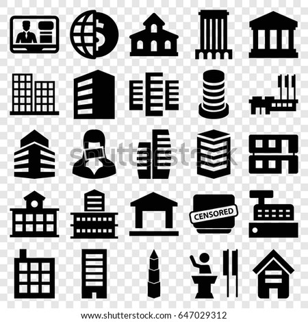 Government icons set. set of 25 government filled icons such as building, business center, tv speaker, censored woman, censored, house building, court building, speaker