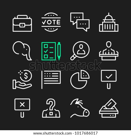 Government line icons. Modern graphic elements, simple outline thin line design symbols. Vector icons set