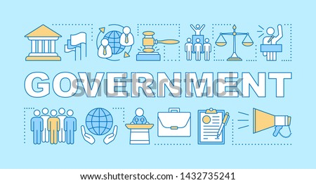 Government word concepts banner. Political system, campaign. Government system. Economy, budget. Order, law. Presentation, website. Isolated lettering typography idea. Vector outline illustration