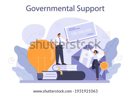 Governmental support. Business bank loan from a government. Company support procedure. Crisis insurance, wage subsidy for business employee. Flat vector illustration Stock photo ©