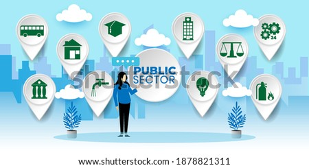 Governmental System Citizen Service Concept. Public Sector Government People Business Concept With icons. Cartoon Vector People Illustration Stock photo ©