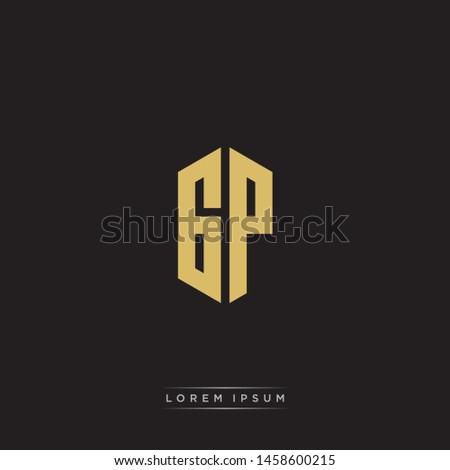 GP G P Logo Emblem Capital Letter Modern Template EPS 10 With Black Background Stock fotó ©
