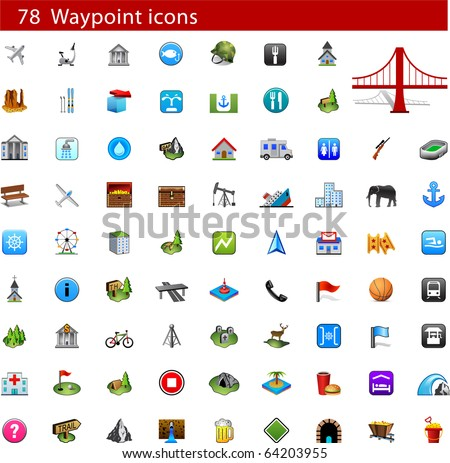GPS and Waypoint Icon set