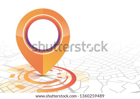 Gps icon mock up orange color technology style showing on the street.isolate white background.vector illustration