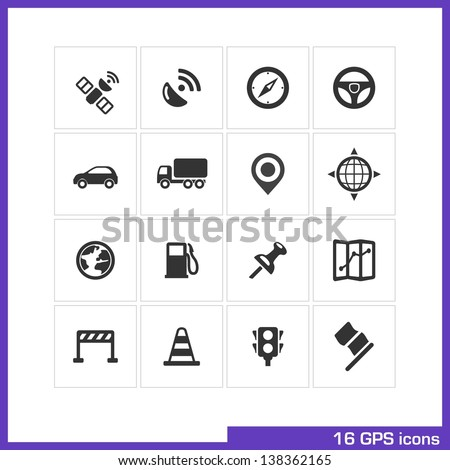 gps icon set vector black
