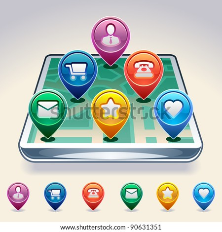 GPS Map Location Markers. Vector illustration