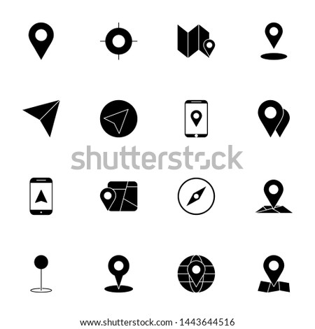 gps, maps, travel, navigation solid icons set. creative simple gps, navigation icons set vector illustration. smart solid black user interface icons set