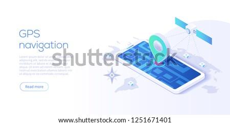 GPS navigation app concept in isometric vector illustration. Smartphone application for global positioning system. Satellite radionavigation or tracking system on mobile device.