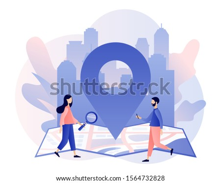 GPS navigation concept. Tiny people search on location. Online map. We have moved. City landscape background. Modern flat cartoon style. Vector illustration