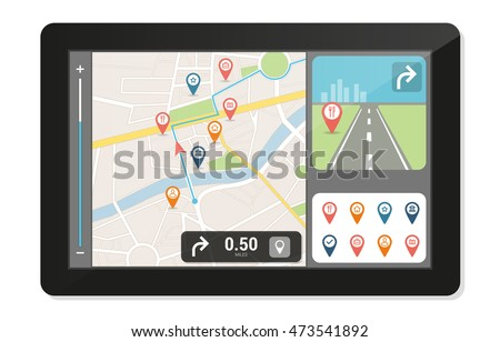 Gps navigation device and city map with pins and icons, technology and traveling concept Imagine de stoc ©