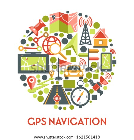 GPS navigation icons set in circle. Navigator app showing direction on mobile phone screen for travel by car, road route, map, compass, locator and pinpoint symbol. Green, red vector illustration.