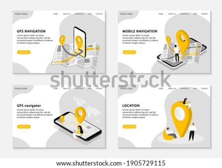 GPS navigation landing pages. Mobile navigation, GPS navigator, location. Mobile application for navigation. Set of web pages. Vector illustration.