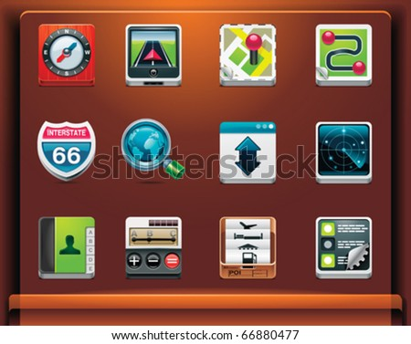 GPS navigation. Mobile devices apps/services icons. Part 1 of 12