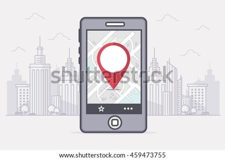 GPS Navigation on Smartphone with Map,  Map Pointer and City in the Background. Line Art Vector Illustration.