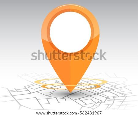 gps navigation orange color checking on map. vector  illustration
