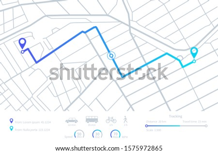 GPS navigation. Planning routes. Mobile navigating map with location city streets. Distance tracking. Vector dashboard interface elements