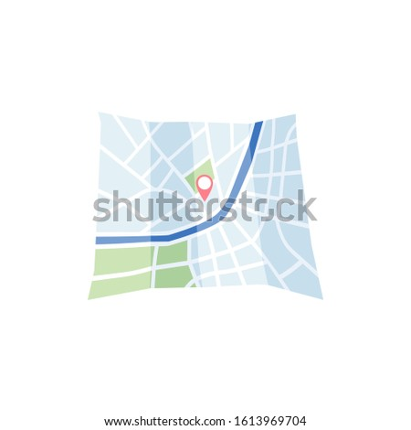 GPS navigation satellite system concept - map with route direction and point red pin, flat vector illustration isolated on white background. Modern advanced technology.