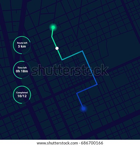 GPS navigation, tracking dashboard. Showing movement and location on the streets of the city. Vector concept.