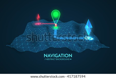 Gps navigation vector concept. Technology background with navigation and landscape.
